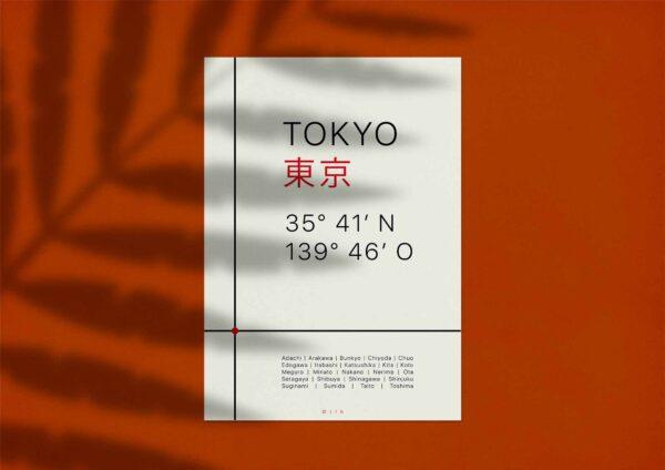 Das Tokyo Poster ist an einer roten Wand angebracht mit dem Schatten eines Farns darüber