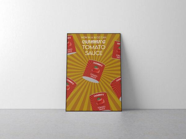 Das TOMATO SAUCE Poster eingerahmt auf dem Boden stehend